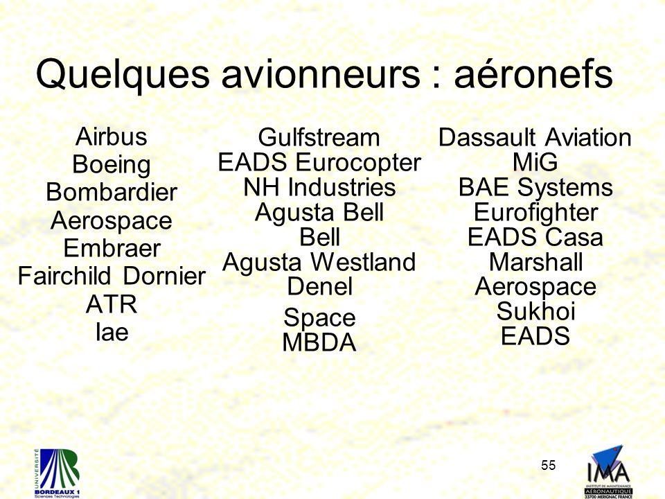Quelques avionneurs : aéronefs