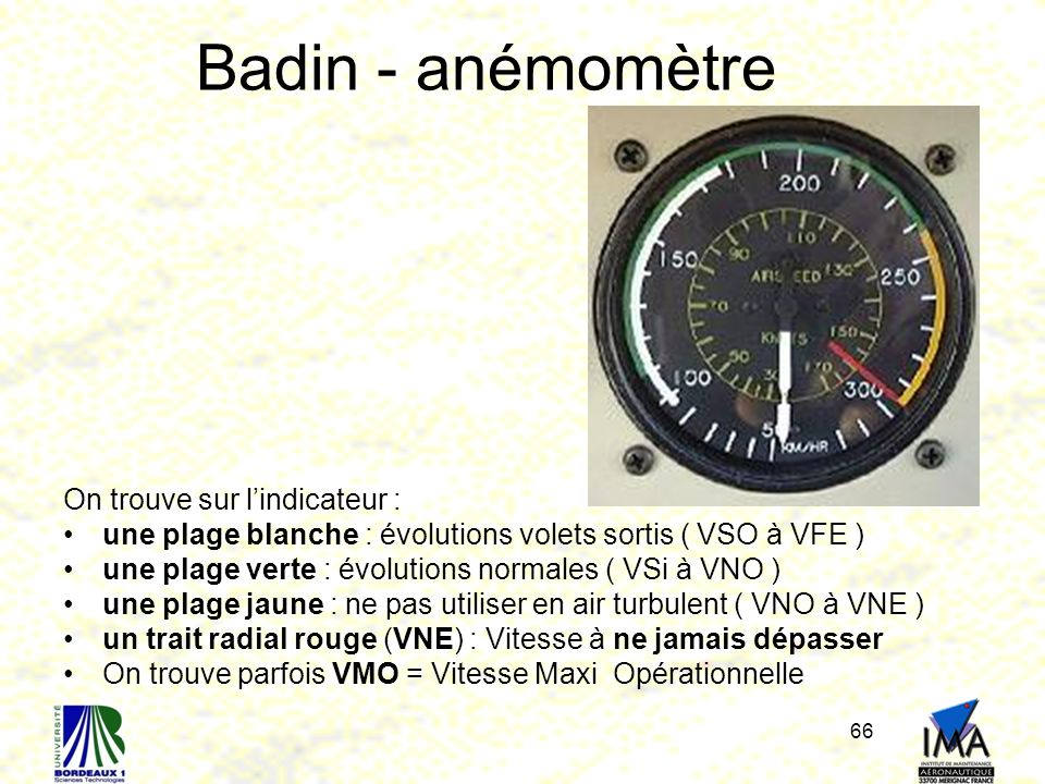 Badin - anémomètre On trouve sur l'indicateur :