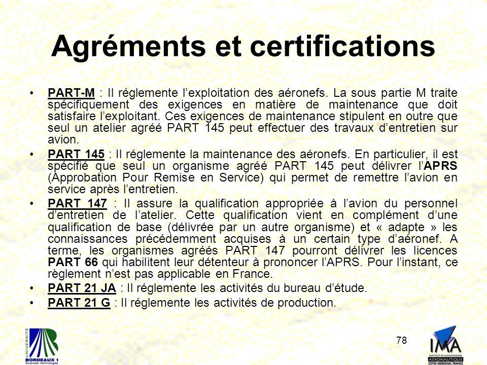 Agréments et certifications