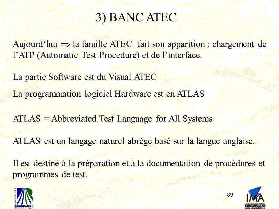 3) BANC ATEC Aujourd'hui  la famille ATEC fait son apparition : chargement de l'ATP (Automatic Test Procedure) et de l'interface.