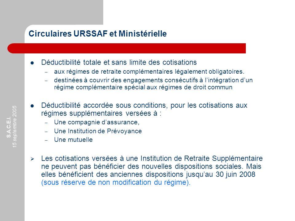Circulaires URSSAF et Ministérielle