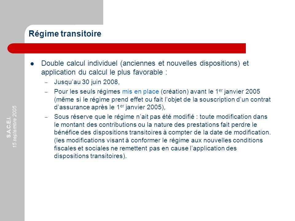 Régime transitoire Double calcul individuel (anciennes et nouvelles dispositions) et application du calcul le plus favorable :