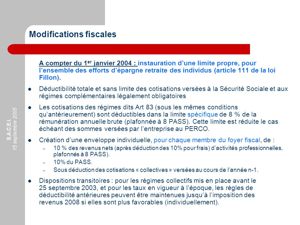 Modifications fiscales