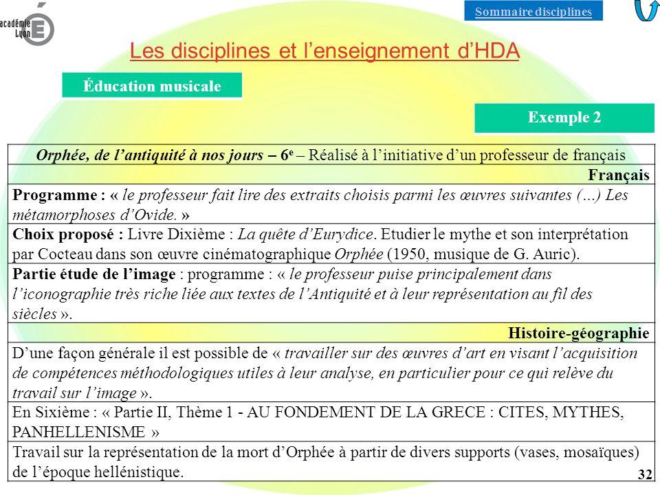 Les disciplines et l'enseignement d'HDA
