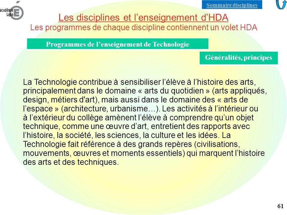 Programmes de l'enseignement de Technologie Généralités, principes