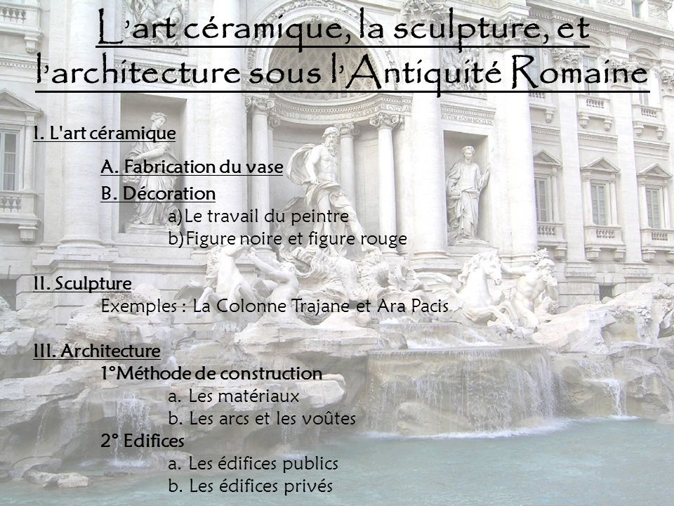 L'art céramique, la sculpture, et l'architecture sous l'Antiquité Romaine
