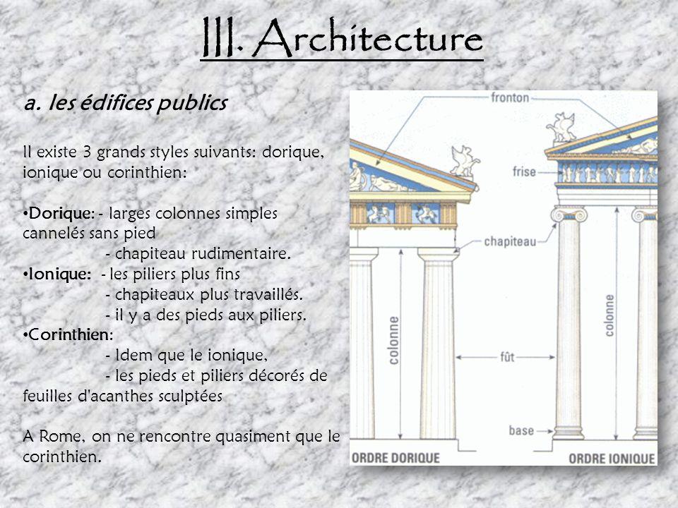III. Architecture a. les édifices publics