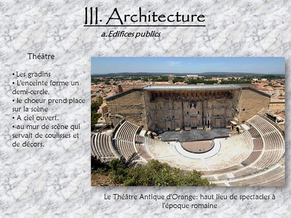 III. Architecture a.Edifices publics Théâtre Les gradins