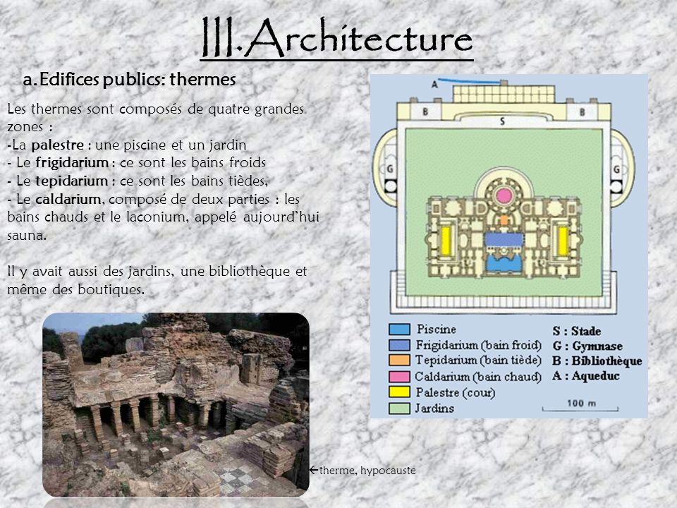 III.Architecture a.Edifices publics: thermes
