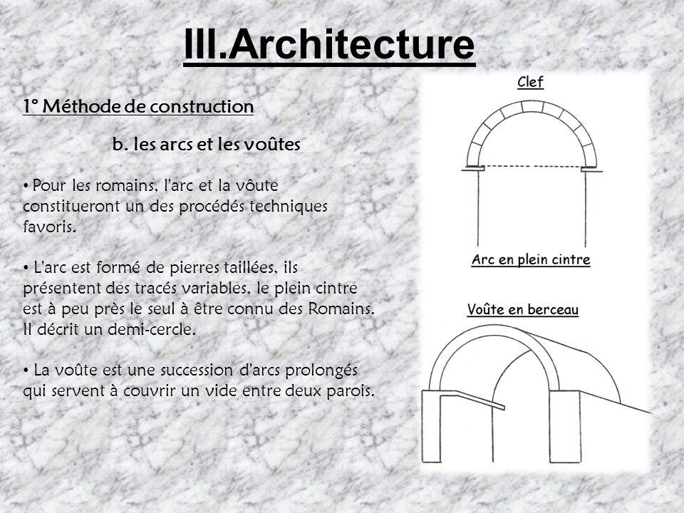 III.Architecture 1° Méthode de construction b. les arcs et les voûtes