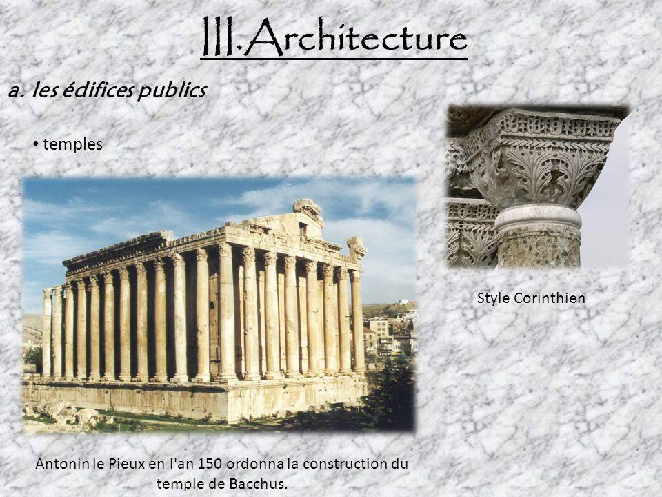 III.Architecture a. les édifices publics temples Style Corinthien