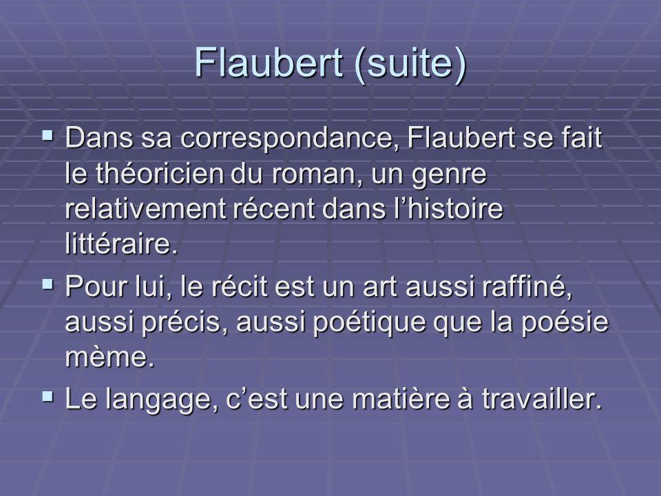 Flaubert (suite) Dans sa correspondance, Flaubert se fait le théoricien du roman, un genre relativement récent dans l'histoire littéraire.