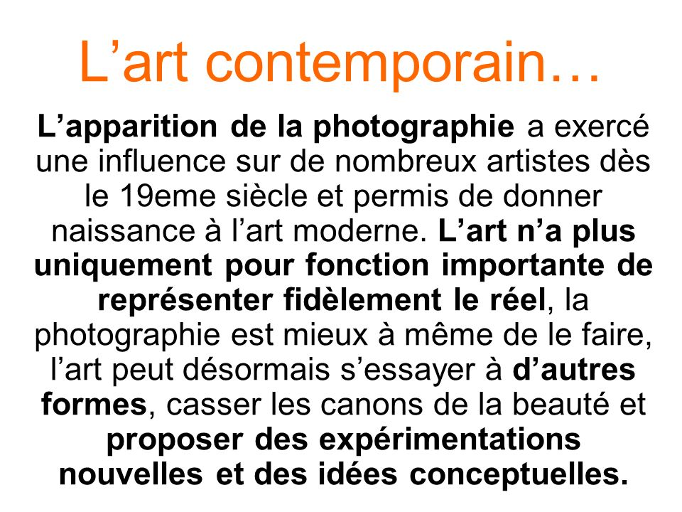 L'art contemporain…
