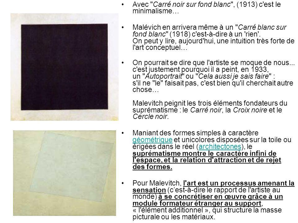 Avec Carré noir sur fond blanc , (1913) c est le minimalisme…