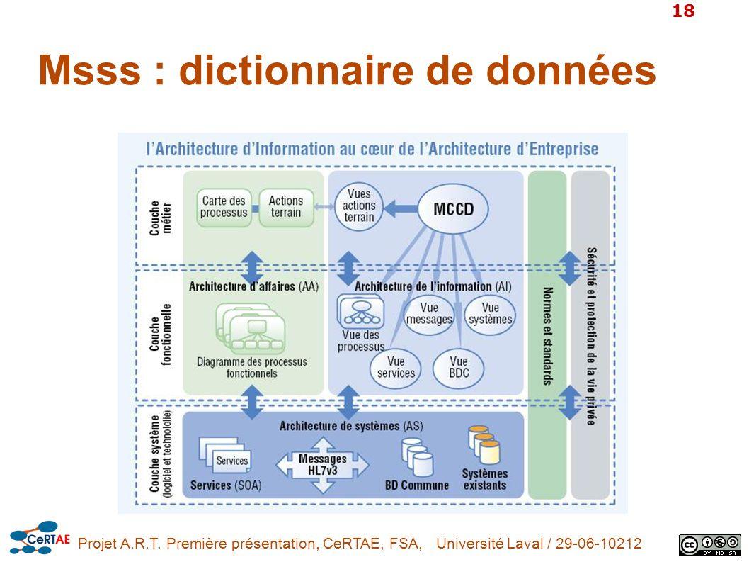 Msss : dictionnaire de données