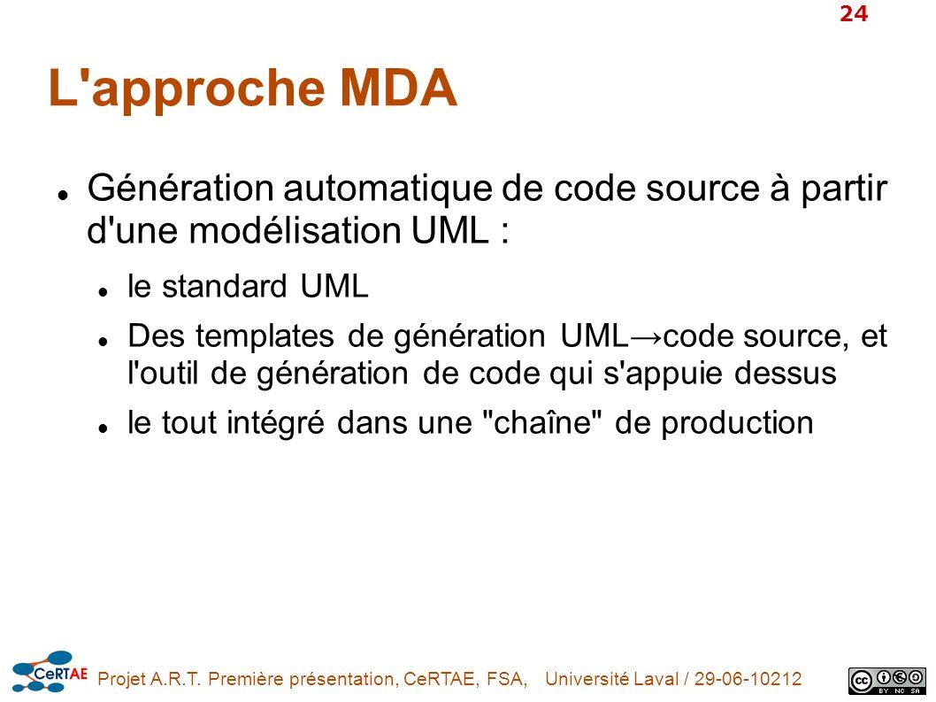 L approche MDA Génération automatique de code source à partir d une modélisation UML : le standard UML.