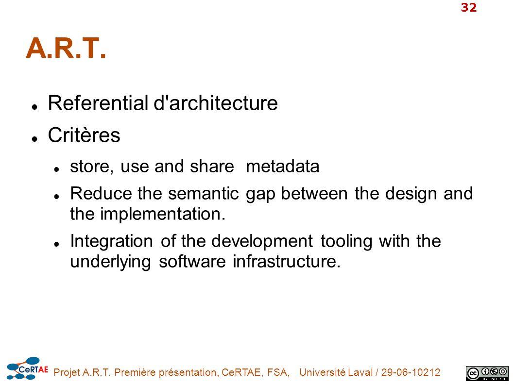 A.R.T. Referential d architecture Critères