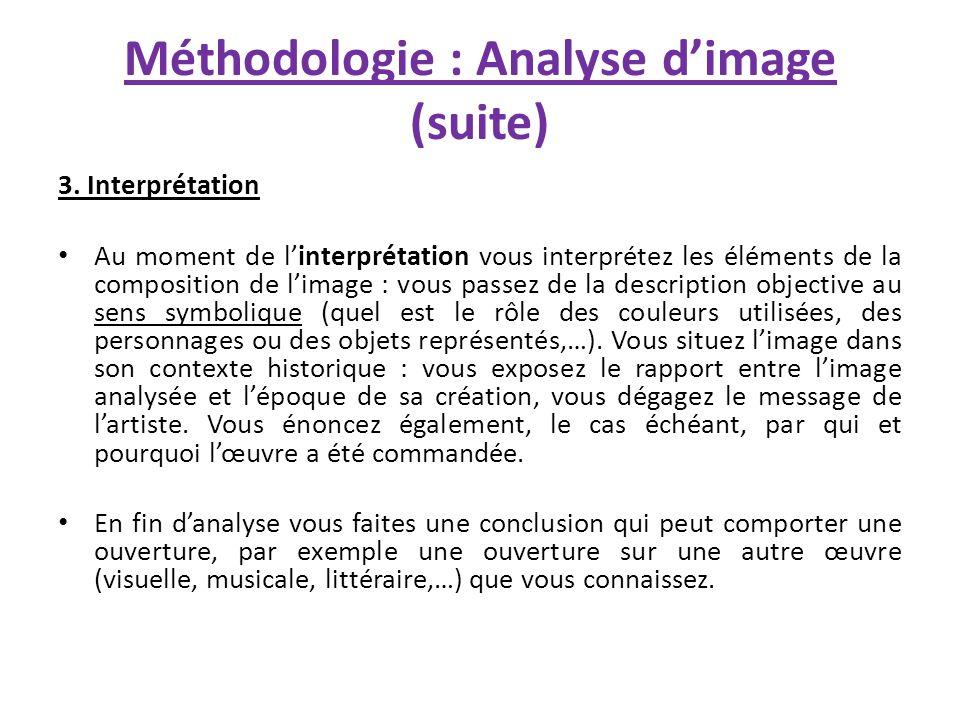 Méthodologie : Analyse d'image (suite)