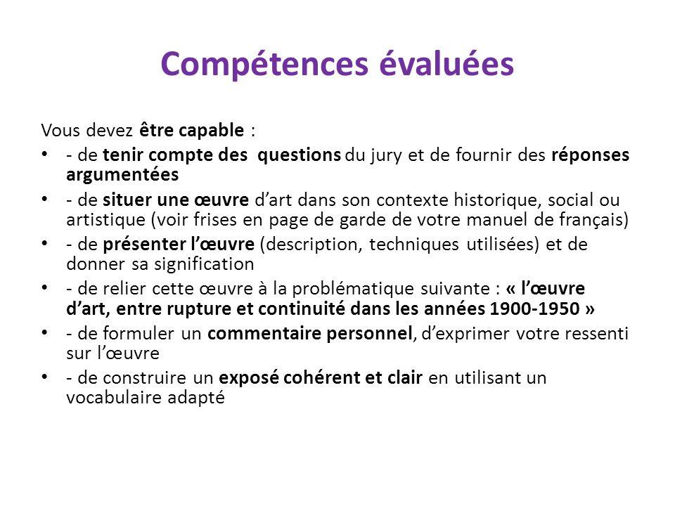 Compétences évaluées Vous devez être capable :