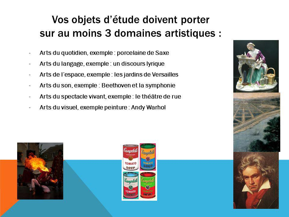 Vos objets d'étude doivent porter sur au moins 3 domaines artistiques :