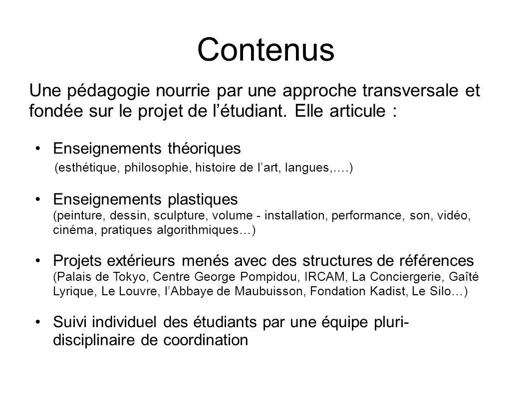 Contenus Une pédagogie nourrie par une approche transversale et fondée sur le projet de l'étudiant. Elle articule :
