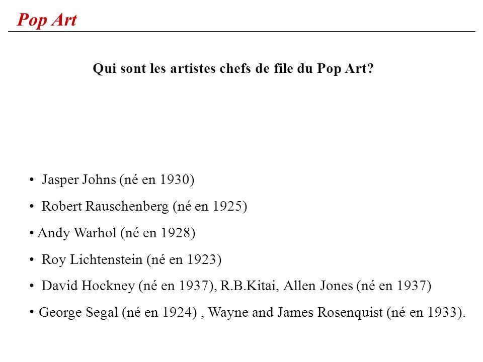 Qui sont les artistes chefs de file du Pop Art