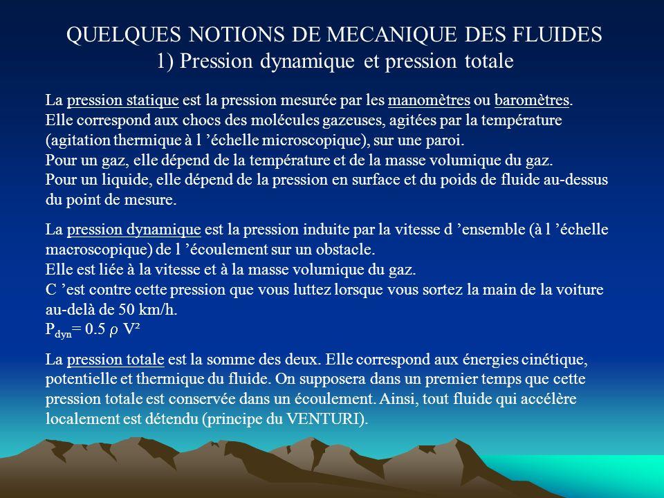 QUELQUES NOTIONS DE MECANIQUE DES FLUIDES 1) Pression dynamique et pression totale