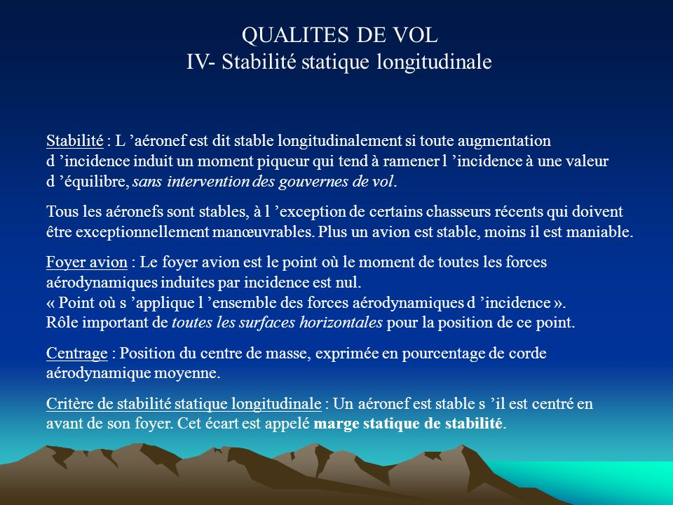 QUALITES DE VOL IV- Stabilité statique longitudinale