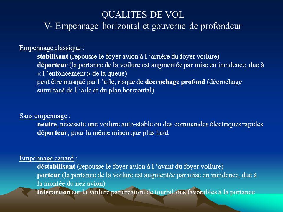 QUALITES DE VOL V- Empennage horizontal et gouverne de profondeur