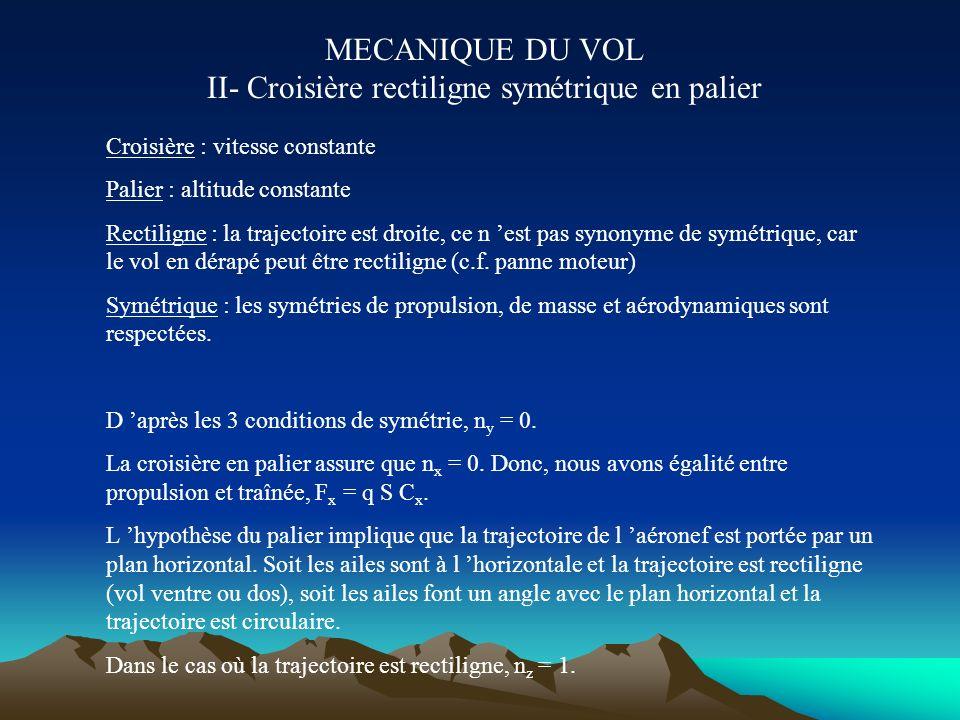 MECANIQUE DU VOL II- Croisière rectiligne symétrique en palier