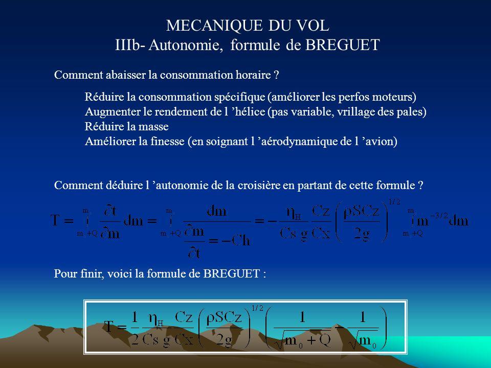 MECANIQUE DU VOL IIIb- Autonomie, formule de BREGUET