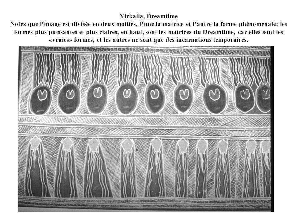 Yirkalla, Dreamtime Notez que l'image est divisée en deux moitiés, l'une la matrice et l'autre la forme phénoménale; les formes plus puissantes et plus claires, en haut, sont les matrices du Dreamtime, car elles sont les «vraies» formes, et les autres ne sont que des incarnations temporaires.