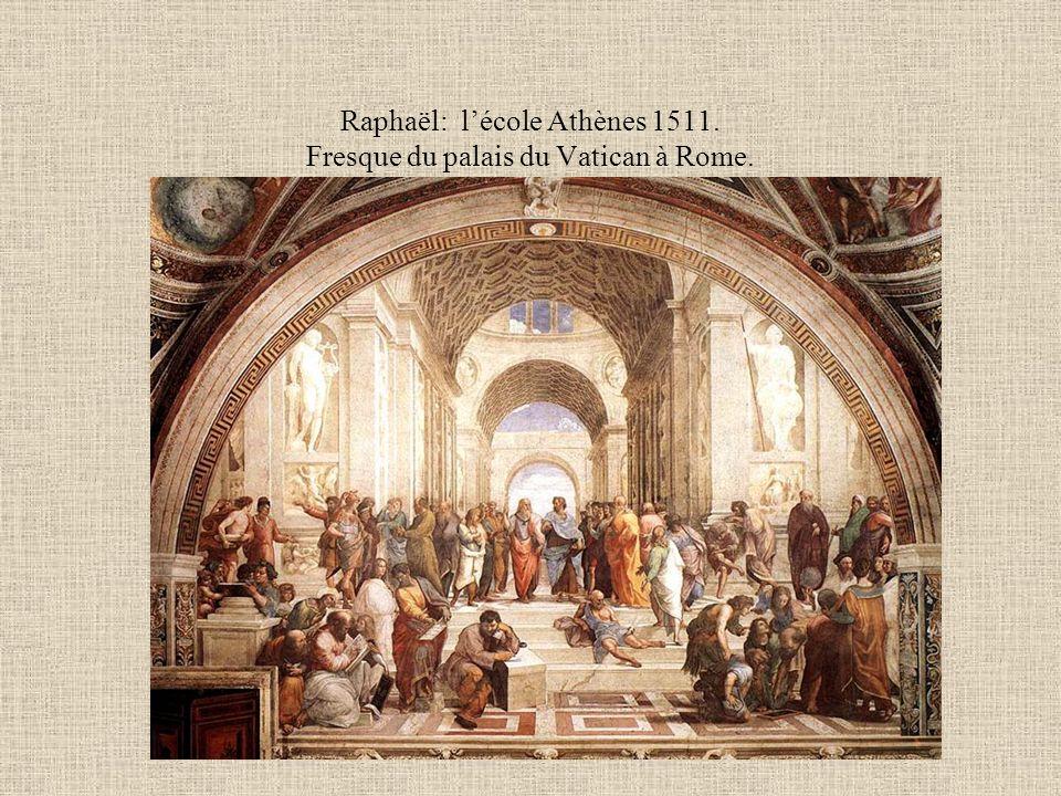 Raphaël: l'école Athènes 1511. Fresque du palais du Vatican à Rome.