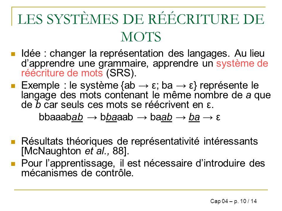 LES SYSTÈMES DE RÉÉCRITURE DE MOTS