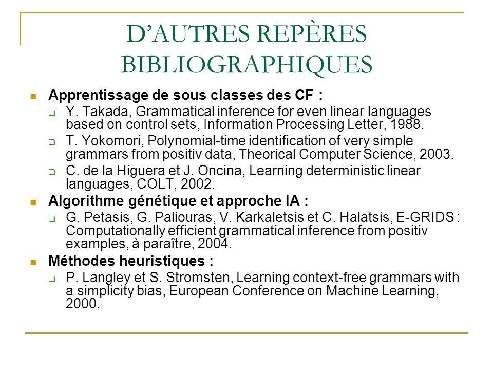 D'AUTRES REPÈRES BIBLIOGRAPHIQUES