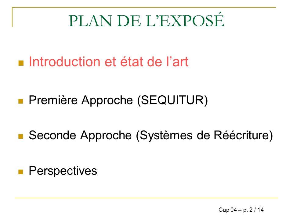 PLAN DE L'EXPOSÉ Introduction et état de l'art