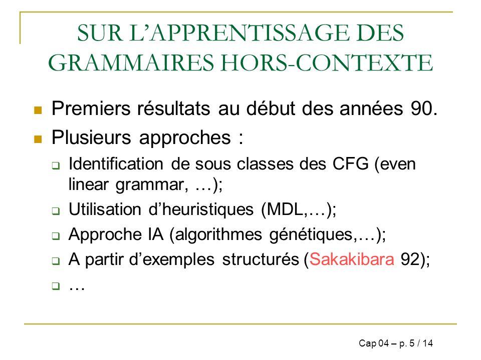 SUR L'APPRENTISSAGE DES GRAMMAIRES HORS-CONTEXTE