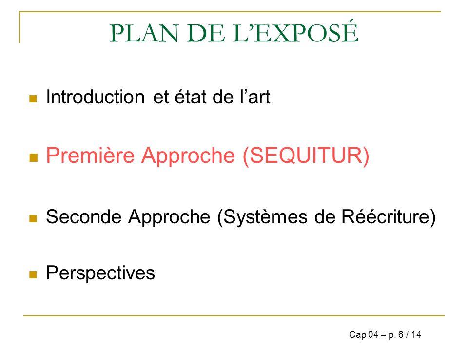 PLAN DE L'EXPOSÉ Première Approche (SEQUITUR)