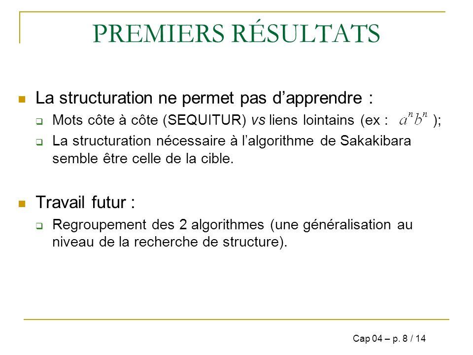 PREMIERS RÉSULTATS La structuration ne permet pas d'apprendre :
