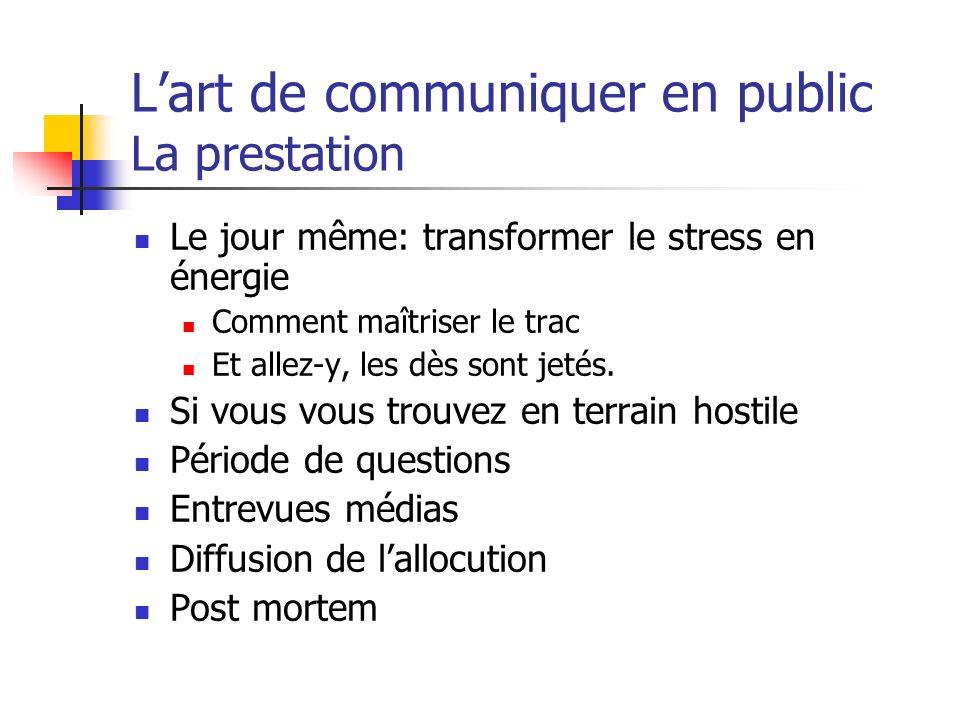 L'art de communiquer en public La prestation
