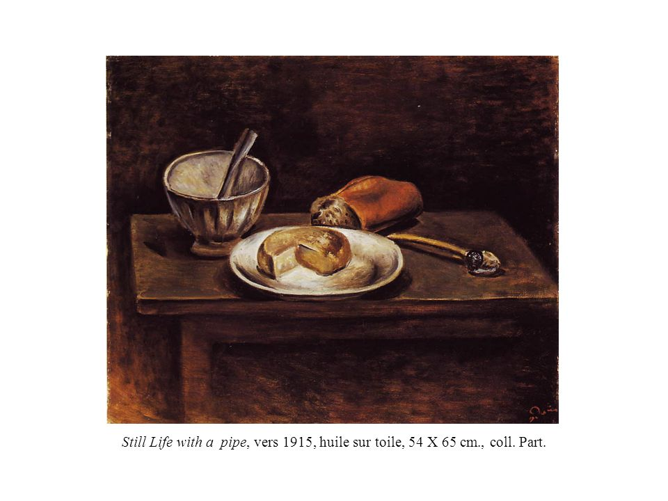 Still Life with a pipe, vers 1915, huile sur toile, 54 X 65 cm. , coll