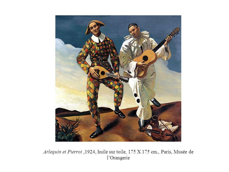 Arlequin et Pierrot ,1924, huile sur toile, 175 X 175 cm