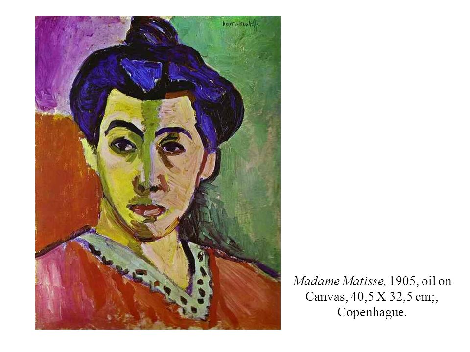 Madame Matisse, 1905, oil on Canvas, 40,5 X 32,5 cm;, Copenhague.
