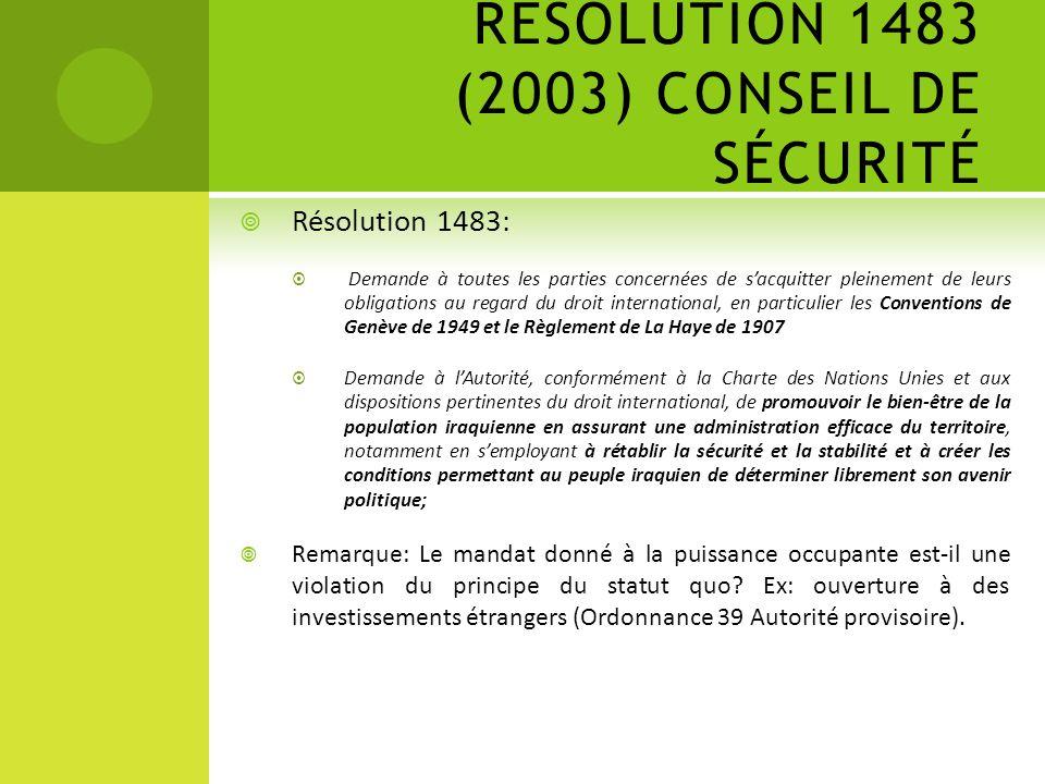 RÉSOLUTION 1483 (2003) CONSEIL DE SÉCURITÉ