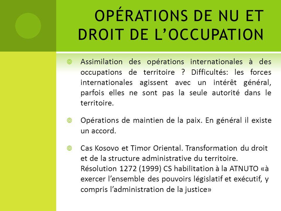 OPÉRATIONS DE NU ET DROIT DE L'OCCUPATION