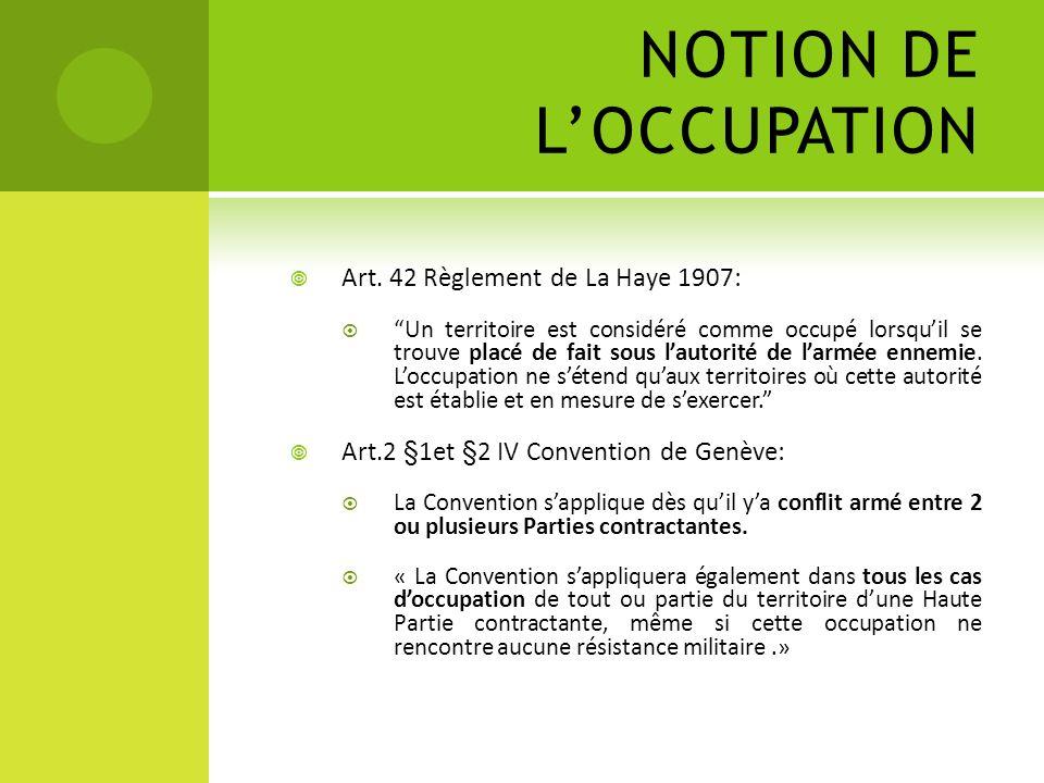 NOTION DE L'OCCUPATION