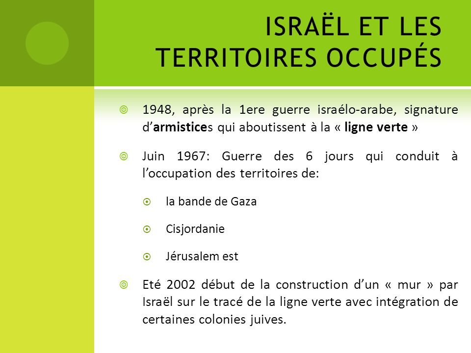 ISRAËL ET LES TERRITOIRES OCCUPÉS