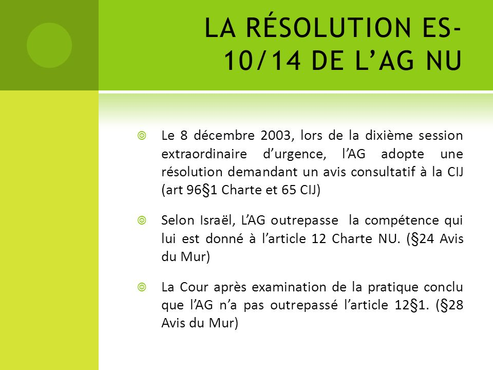 LA RÉSOLUTION ES-10/14 DE L'AG NU