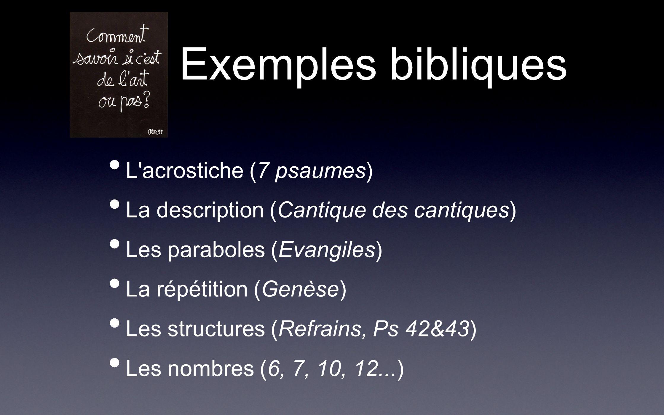 Exemples bibliques L acrostiche (7 psaumes)