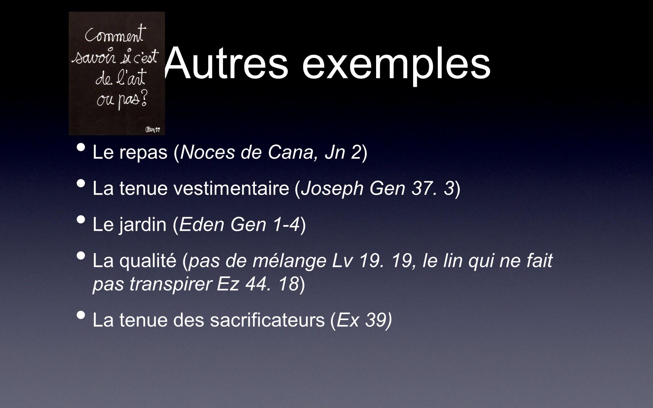 Autres exemples Le repas (Noces de Cana, Jn 2)